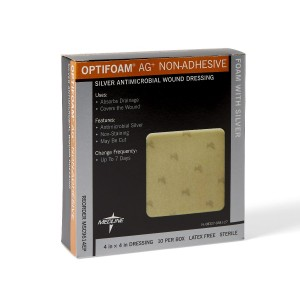 MedLine Optifoam AG+ Nonadhesive Silver Antimicrobial Wound Dressing