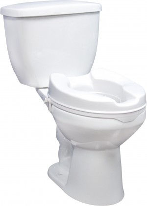 Drive Raised Toilet Seat with Lock and Lid, Standard Seat