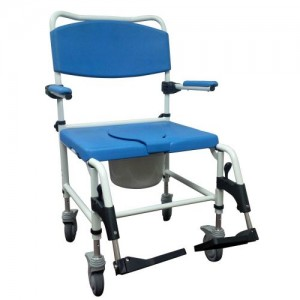Drive Bariatric Aluminum Rehab Shower Commode Chair with Two Rear-Locking Casters