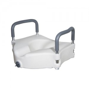 Drive Elevated Raised Toilet Seat with Removable Padded Arms, Standard Seat