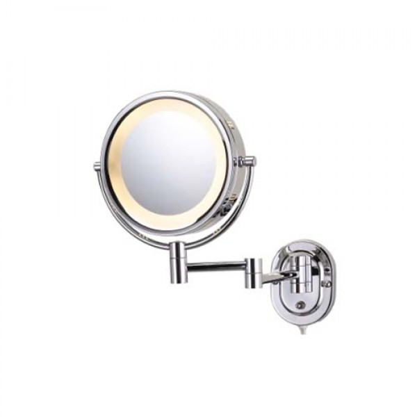 Jerdon 5X Halo Lighted Chrome Wall Mount Mirror
