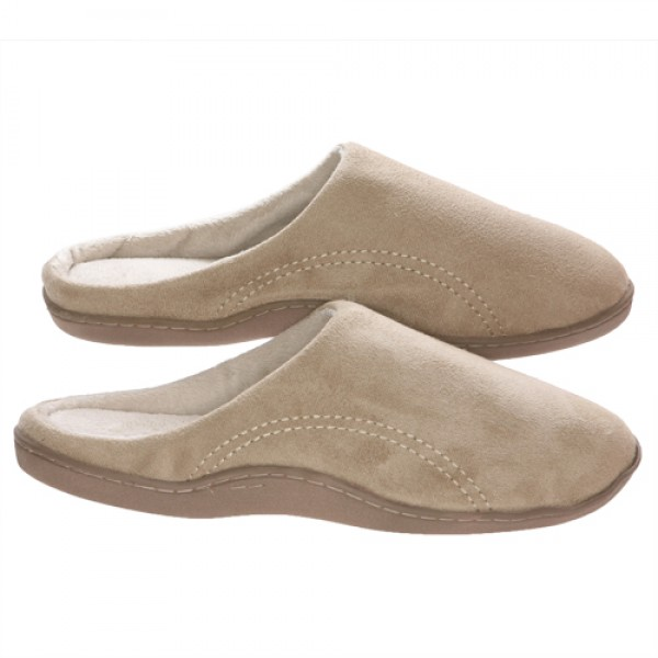 Mens Beige Suede Micro Fleece Slippers with Side Stitches