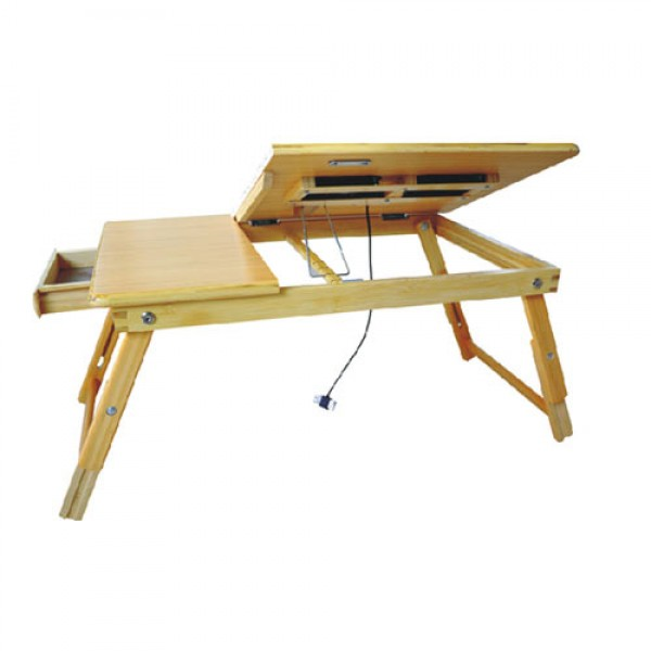 Multi-functional Laptop and Reading Bamboo Stand w/Cooling Fan