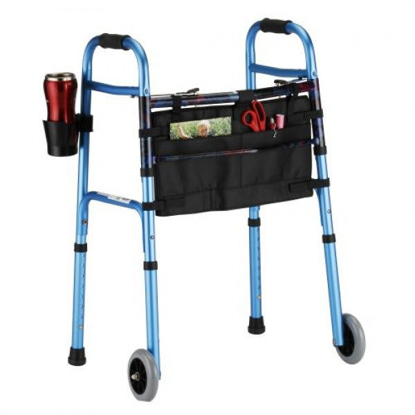 "Nova Folding Walker 5"" Wheels Dual Button Release"