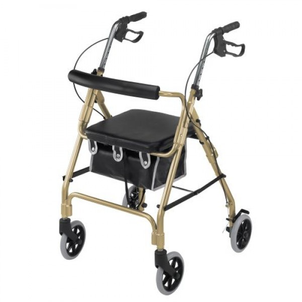DMI Ultra Lightweight Aluminum Rollator with Curved Backrest