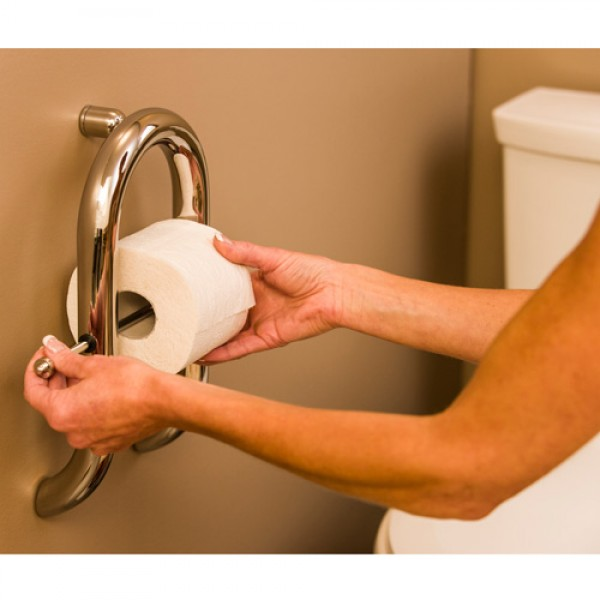 Invisia Collection Toilet Paper Dispenser with Integrated Support Rail