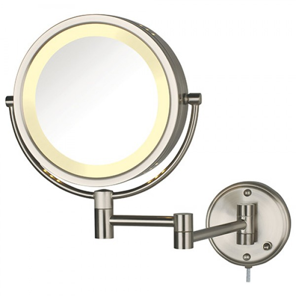 Jerdon 2-Sided (1x/8x) Swivel Halo Lighted Wall Mount Mirror