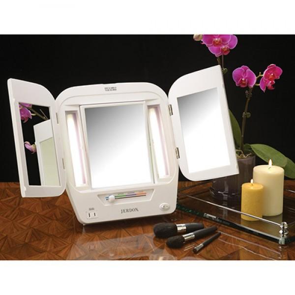 Jerdon Euro Tri Fold Lighted Makeup Mirror