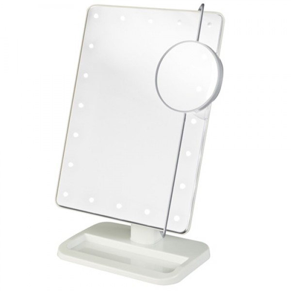 Jerdon Portable LED Lighted Adjustable Tabletop MakeupMirror