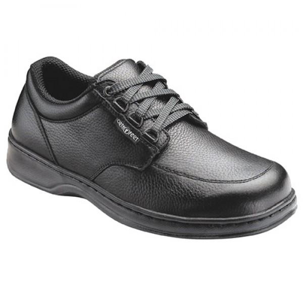 62176f4f8e Orthofeet Mens Avery Island Fast Lace Black Leather Orthopedic Shoes