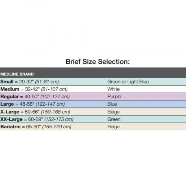 FitRight Briefs Sizing Chart