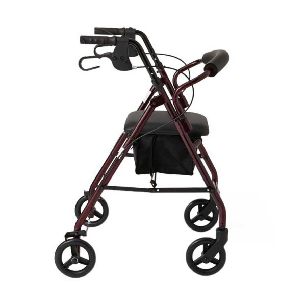 Durable Aluminum Fold Up Mobility Rollator Walker Side View