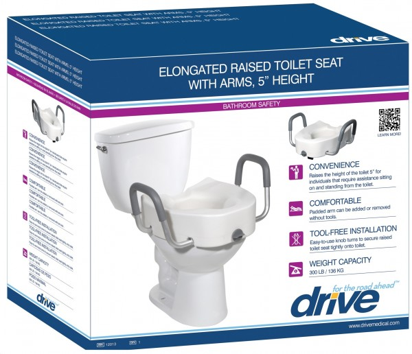 Excellent Drive Medical Premium Plastic Raised Toilet Seat W Lock Short Links Chair Design For Home Short Linksinfo